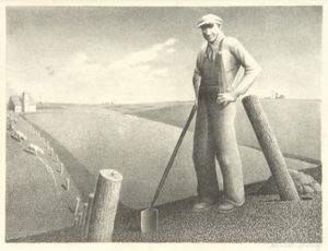 Grant Wood: In the Spring. Signed in pencil.