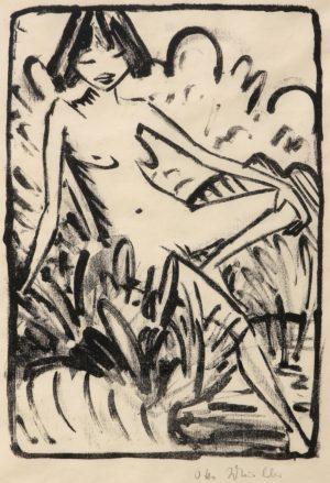 Otto Mueller: Am Ufer sitzendes Madchen. Signed in pencil.