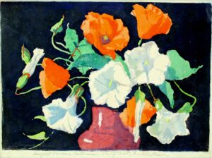 "Margaret Jordan Patterson: Poppies and Convolvulus. Signed and inscribed, ""Trinity Court, Boston Mass""."