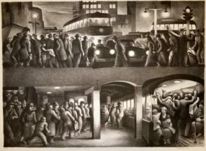 Benton Spruance: The People Work Evening. Signed, dated, titled and inscribed Ed. 40 in pencil.