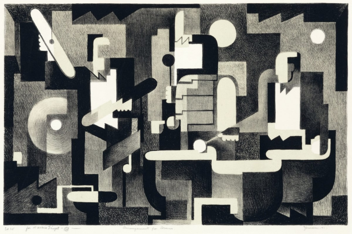 SPRUANCE_Arrangement_for_Drums-original-lithograph-for-sale