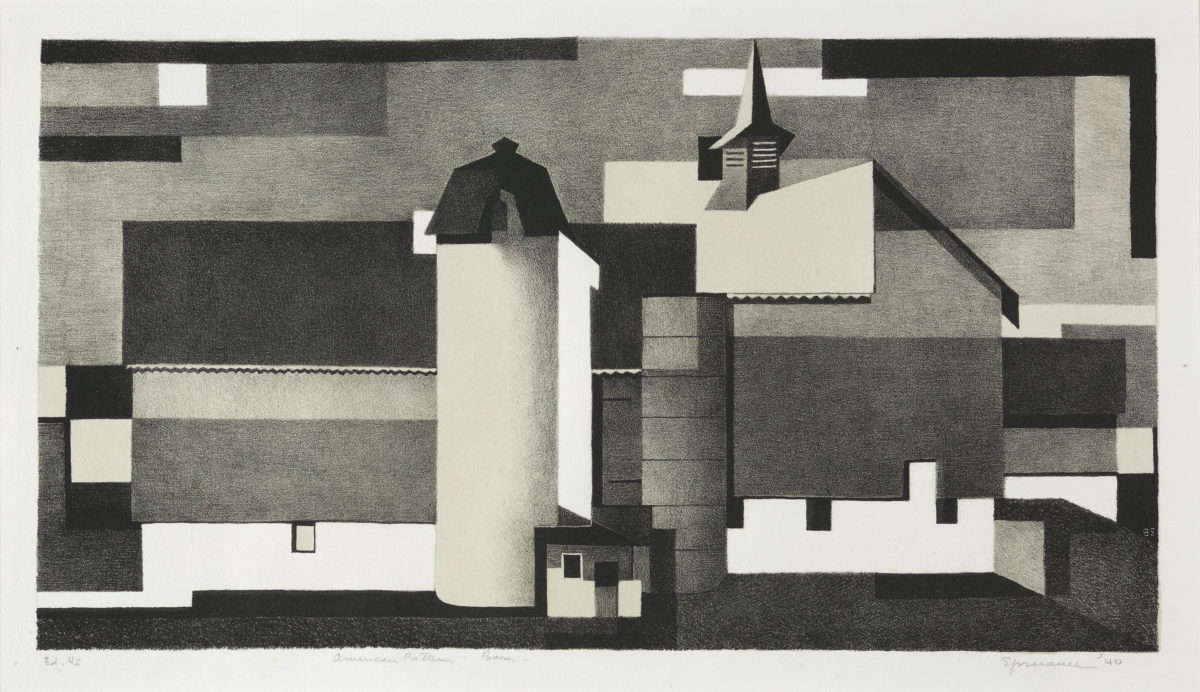 "Benton Spruance: American Pattern - Barn; Signed, titled and annotated ""Ed 45"" in pencil."